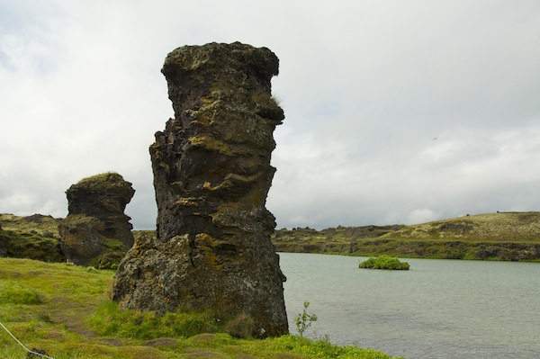 Rock sculptures at lake Myvatn