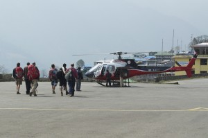 The group approaching their escape to Kathmandu