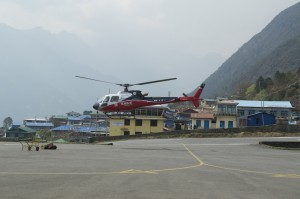 Helicopter at Lukla Airport