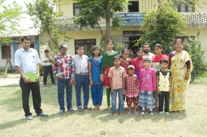 Some of the blind and visually impaired students at  Shree Jhuwani School