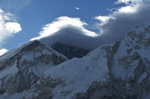 Everest refused to reveal herself properly during the ascent of Kala Patthar