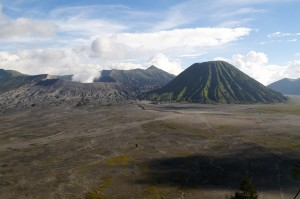 The view from our hotel.  Bromo is the lower smoking peak on the left.