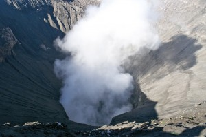 Looking into Bromo's smoking crater