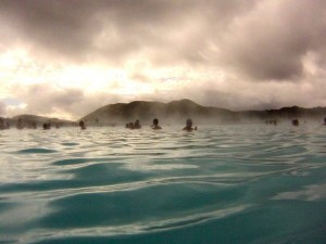 The Blue Lagoon below menacing skies