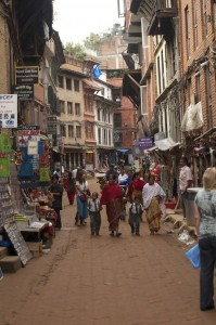 A narrow street in Bhaktapur