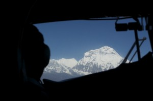 Dhaulagiri over the pilot's shoulder
