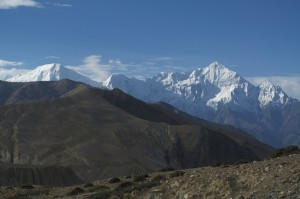 Looking south at the Greater Himalaya from Mustang