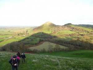Nearing the top of Little Caradoc with the Lawley in the background