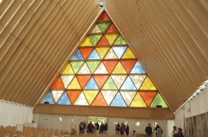 The interior of the new cardboard cathedral