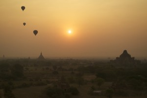 Balloons over Bagan at sunrise