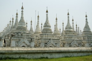 Each small pagoda holds a page of the largest book in the world
