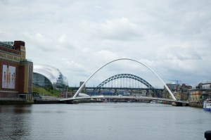 The Millennium Bridge with the Tyne Bridge behind