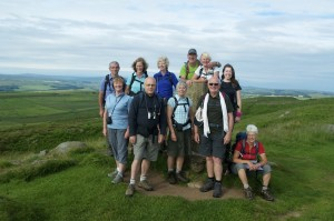 on the summit of Winshields Crags, the highest point along the wall at 345m