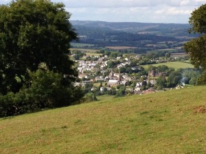 The village of Grosmont with castle to the right