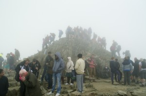 The crowded summit of Snowdon