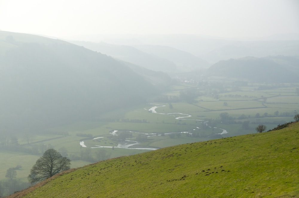 The River Teme meandering along its valley
