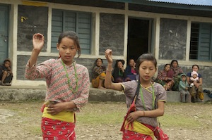 Girls from Sewalung School dancing
