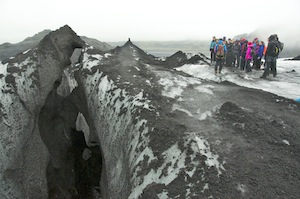 Enjoying the Solheimajokull Glacier