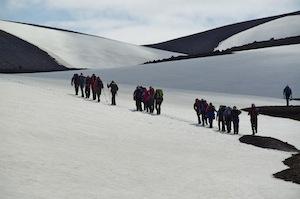 The trek over to Landmannalaugar