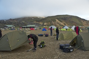 The tent city of Landmannalaugar