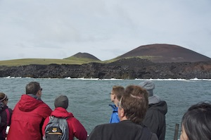 Helgafell on the left, Eldfell on the right