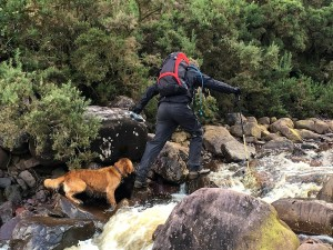 It is not easy crossing a river on wet, slippery stones while controlling an energetic dog