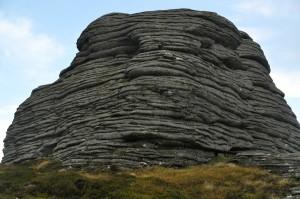 The distinctive pancake rocks
