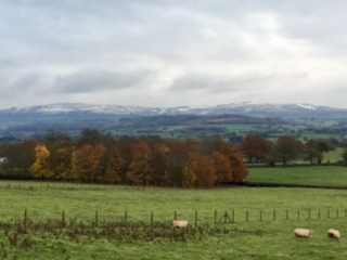 Snow on the distant Clee Hills