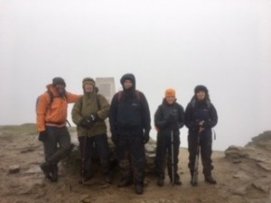 Small gathering on the summit of a misty Sugarloaf