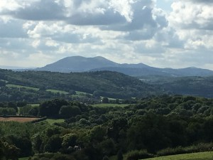The Malvern Hills to the south